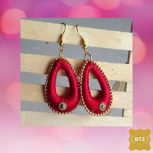 Red Oval Earrings (E10)