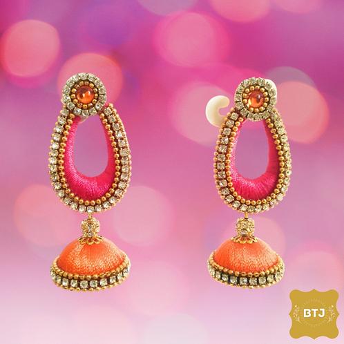 Pink Earrings with Orange Jhumka (E29)