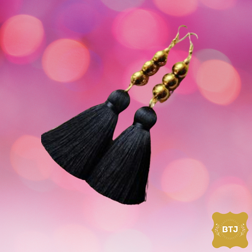 Black Tassel Earrings (E07)