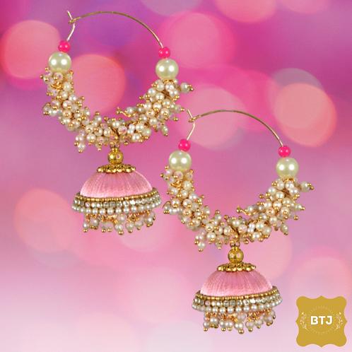 Light Orange Earrings with Pearls( E32)
