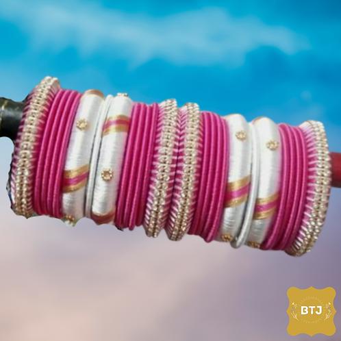 Pink White Bangles (B26)