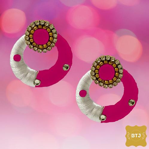 White Pink Chandbali Earrings (E27)