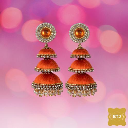 Three Layers Orange Jhumka Earrings (E05)