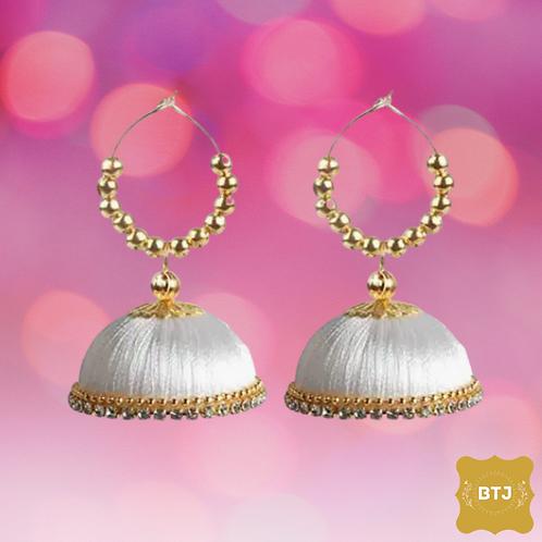 White Golden Jhumka Earrings (E03)