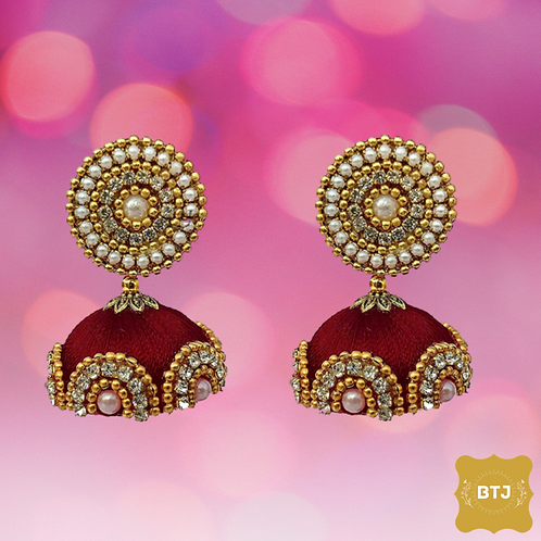 Dark Red Jhumka Earrings (E22)