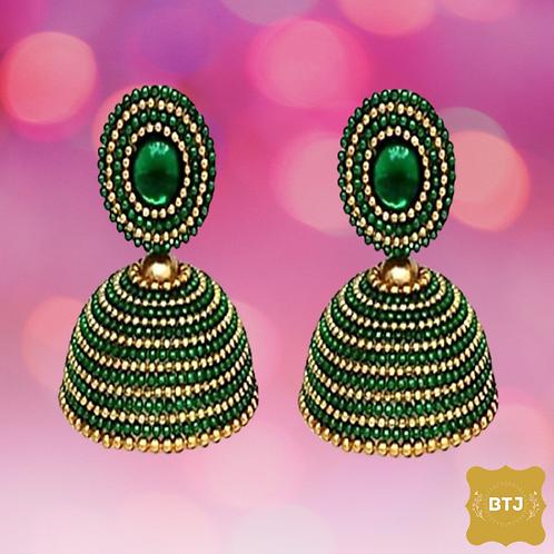 Dark Green Golden Earrings (E01)