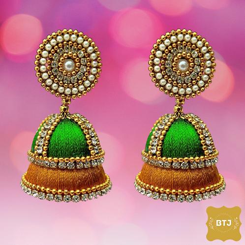 Green Orange Jhumka Earrings (E33)