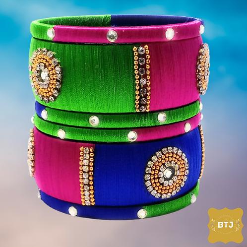 Multicolor Bangles with Kada (B57)