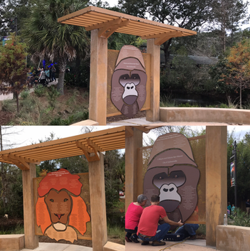 outdoor gorilla and lion display at the Jacksonville Zoo