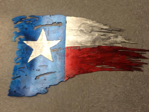 Metal Texas Flag Weathered & Painting