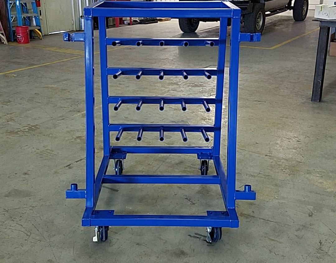 Custom fabricated and painted rack
