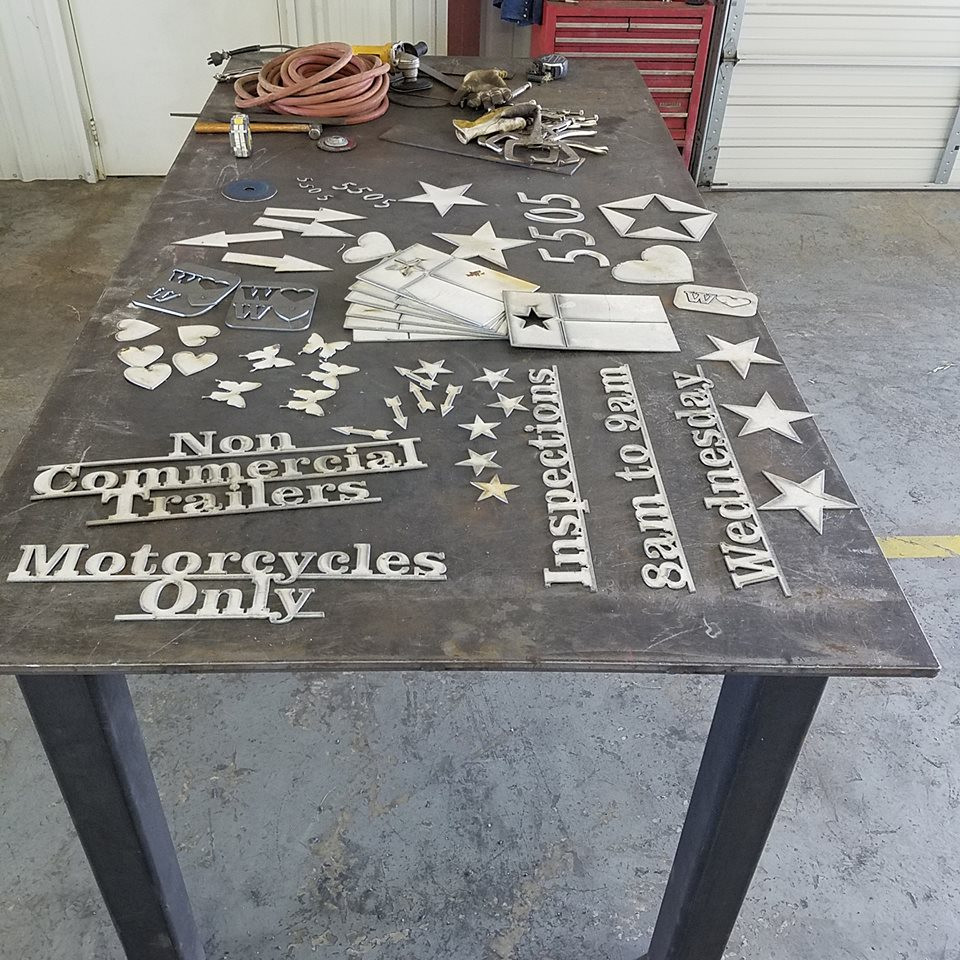 The possibilities are endless, custom metal cutouts for business or home.