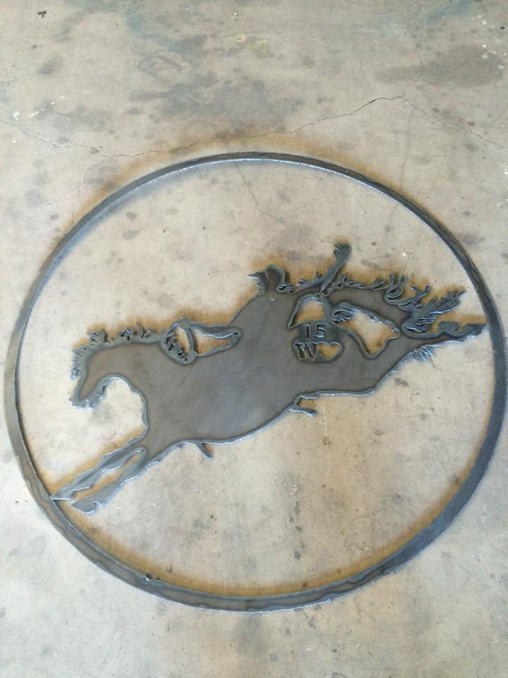 Bucking horse and cowboy rodeo emblem and hanging decorative sign for your ranch, farm, home.