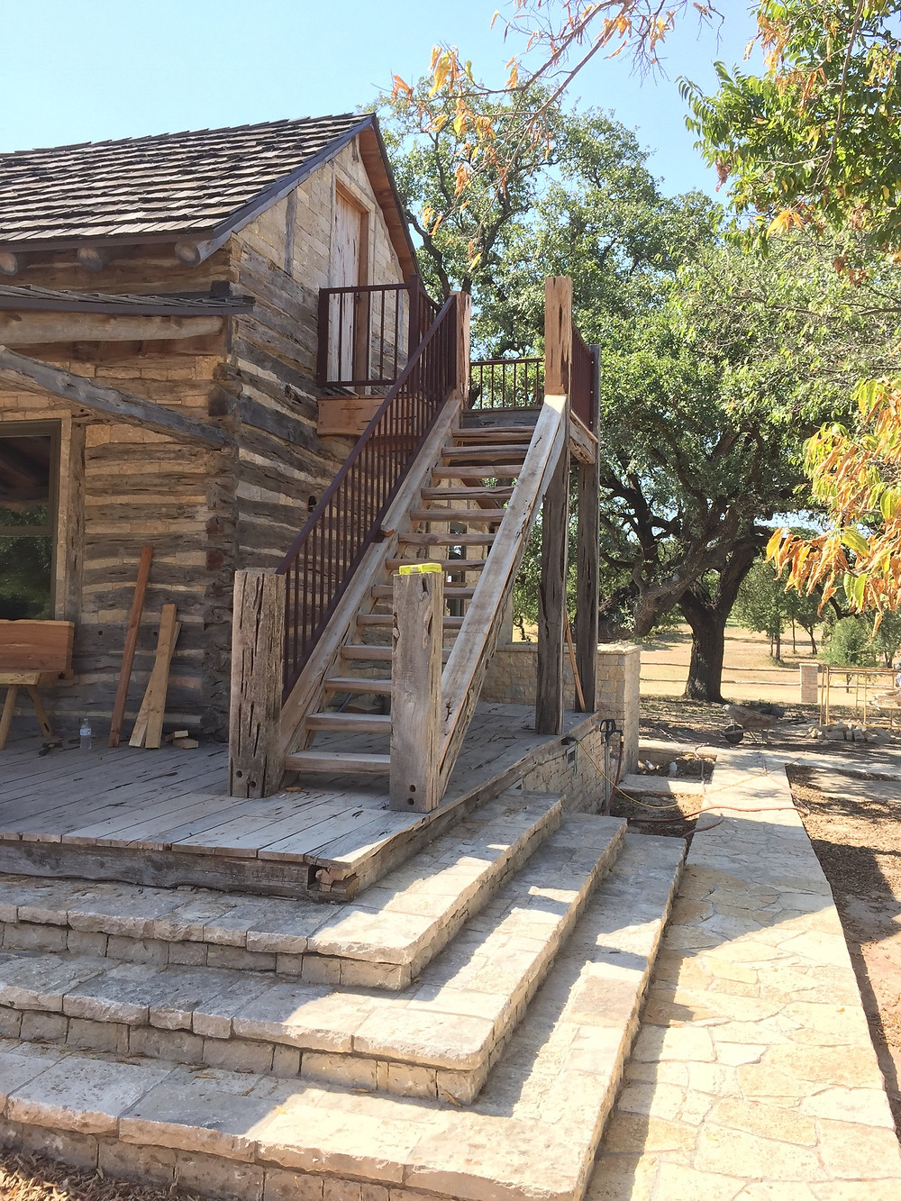 In the middle of installing custom hand railings on a restoration project in Granbury Texas in the Comanche Peak area. Hand railings on an old antique wood home.