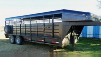 Black horse and livestock trailer