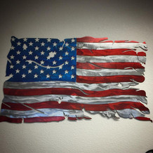 Tattered Metal American Flag Wall Decal