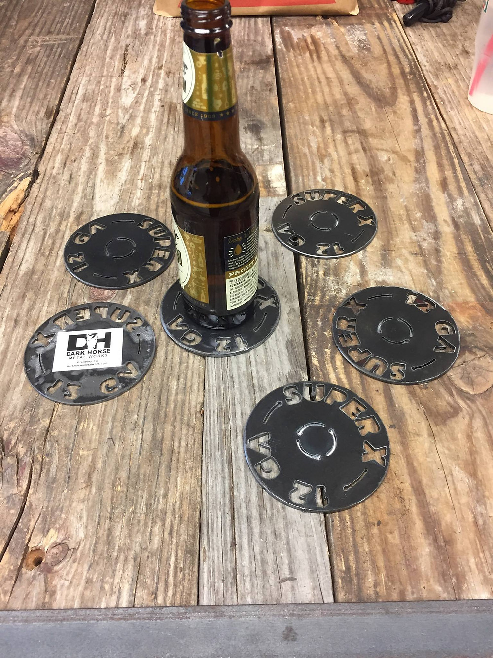 Place your beverage on custom coasters. These shotgun shell coaster look great at your lodge, ranch, home, farmhouse