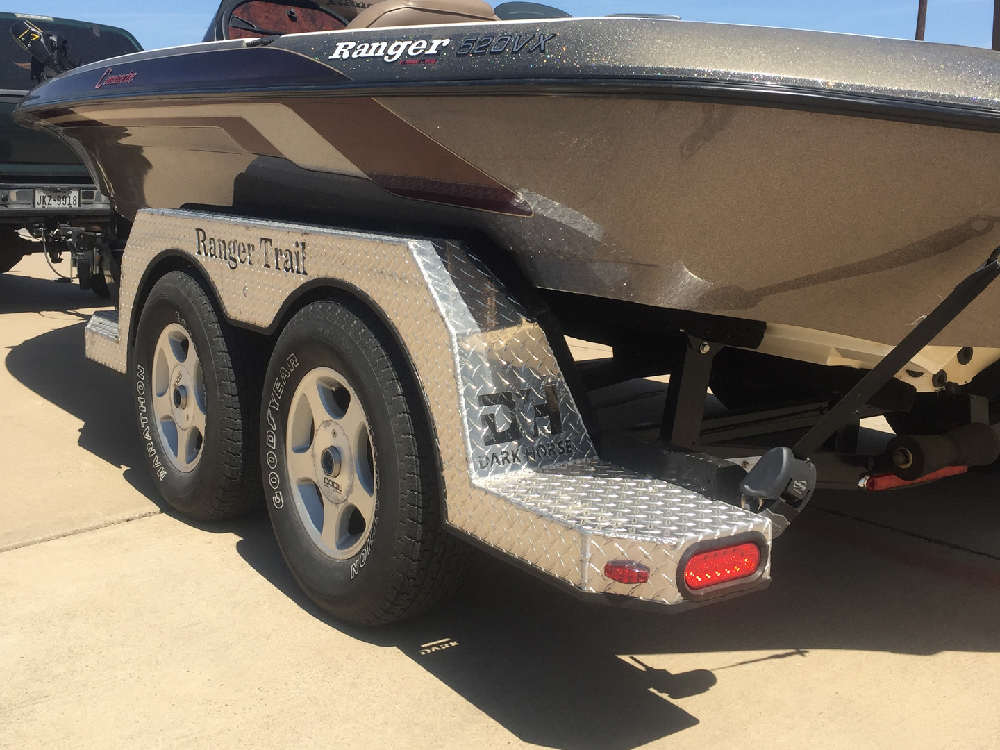 Restored boat trailer with logo cutouts