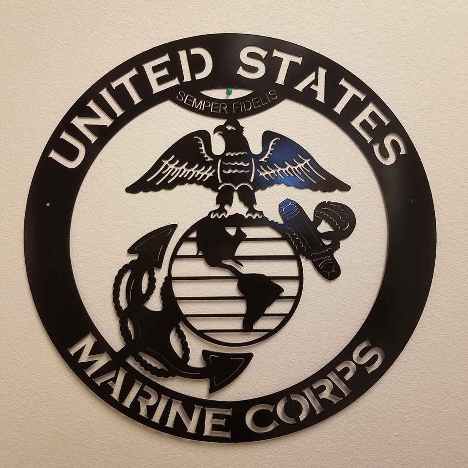 Metal wall decor for all military branches emblem. Marine Corp, Army, Navy, Air Force.