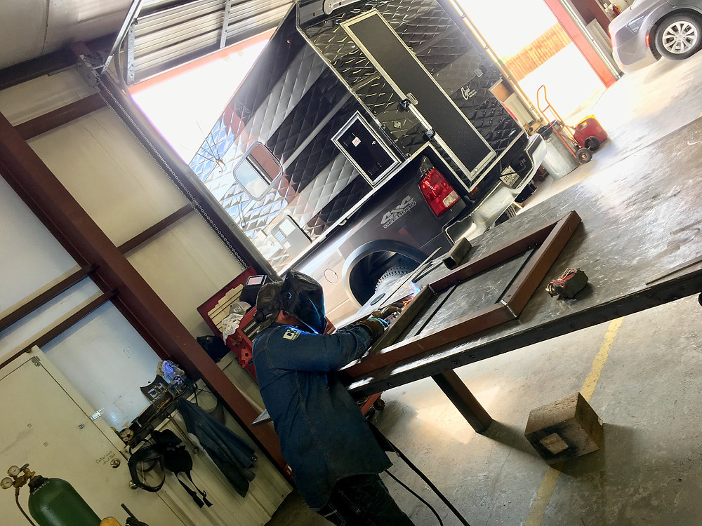 Dark Horse Metal Works in Granbury, TX building a metal foundation and box to house a generator safely on a vehicle.