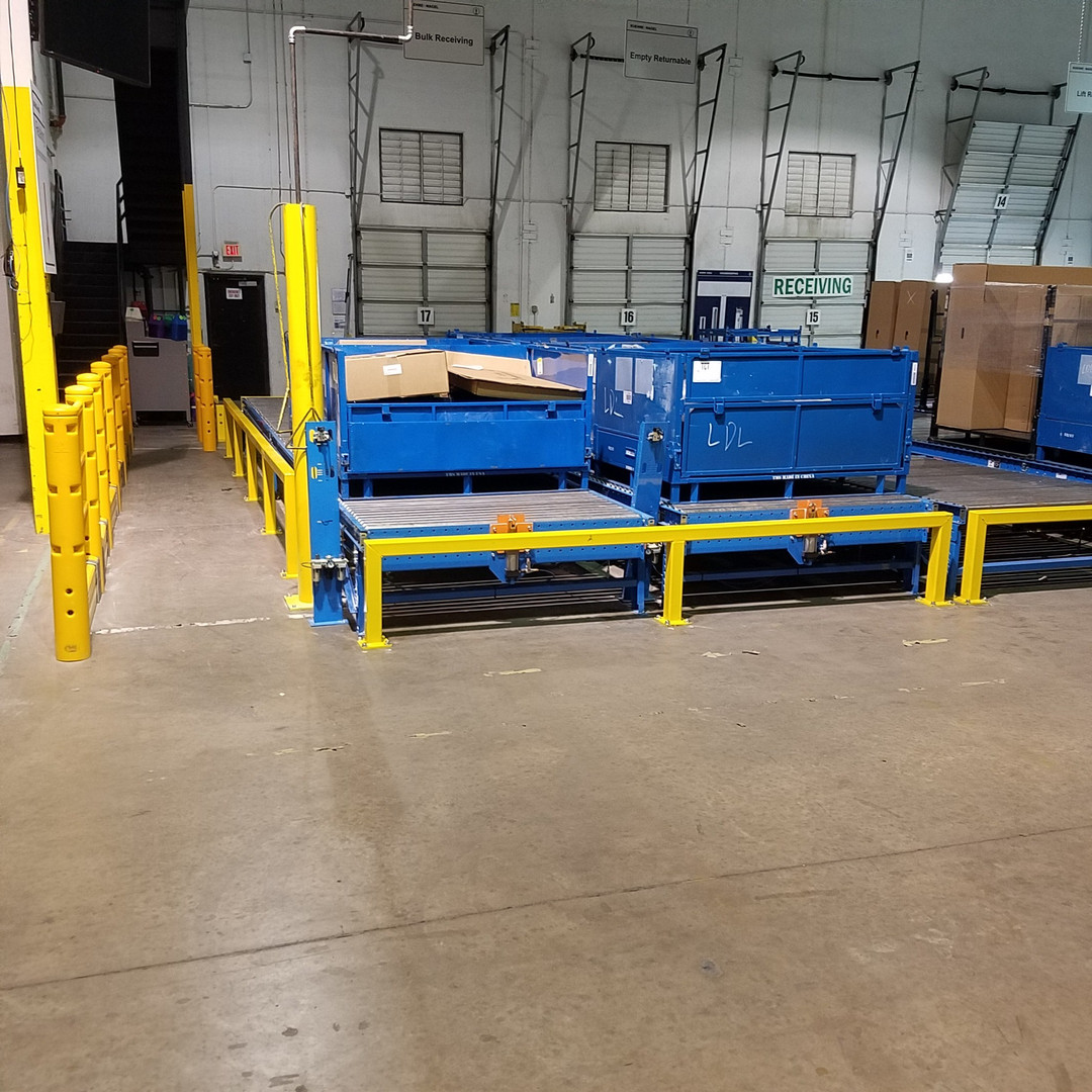 railings in warehouse for machinery