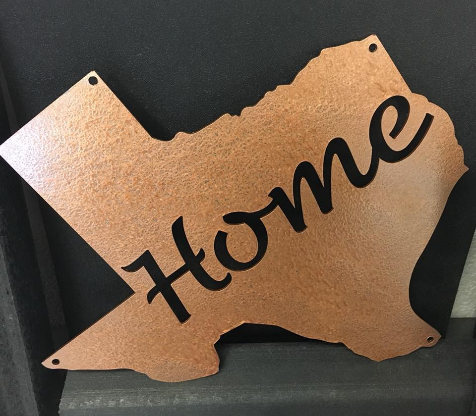 If home is where the heart is then Texas will always be home. This metal Texas sign with home cutout can be hung anywhere.