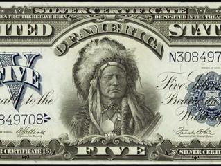 CULTURE – USA : EN 1899, UNE COUPURE DE 5 DOLLARS AVEC LE PORTRAIT D'UN NATIF