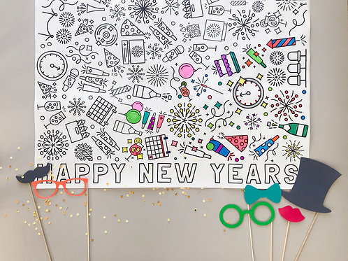 New Years Coloring Banner