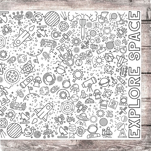Explore Space Coloring Banner