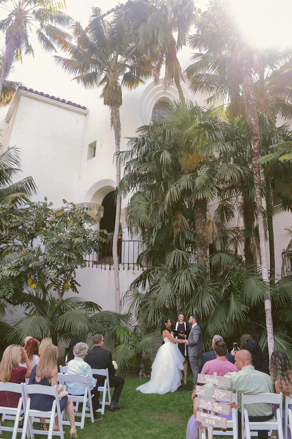 Chaustine and Blake Wedding at Santa Barbara County Courthouse, California. Photo By ByCherry Photography