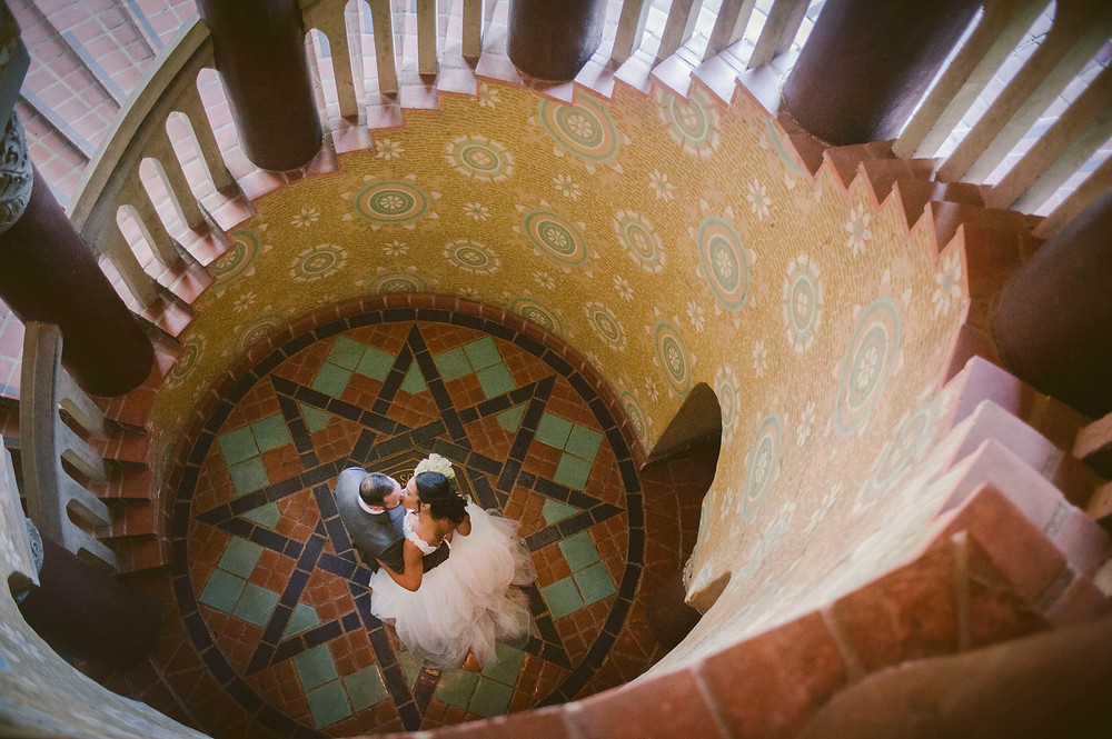 Spiral Staircase at Santa Barbara County Courthouse Photo By ByCherry Photography