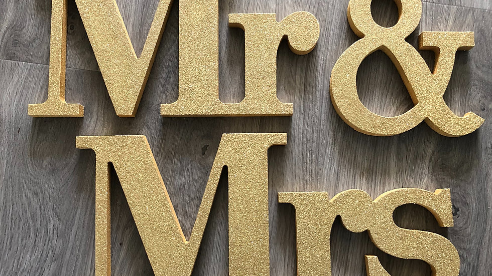 Freestanding Glittered Mr and Mrs Wooden Sign
