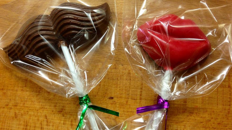 Lip or Moustache Soft Candy Lollipop Favour