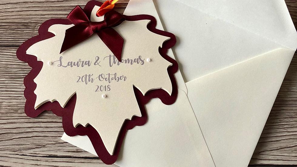 Autumn Leaf Shaped Wedding Invitation