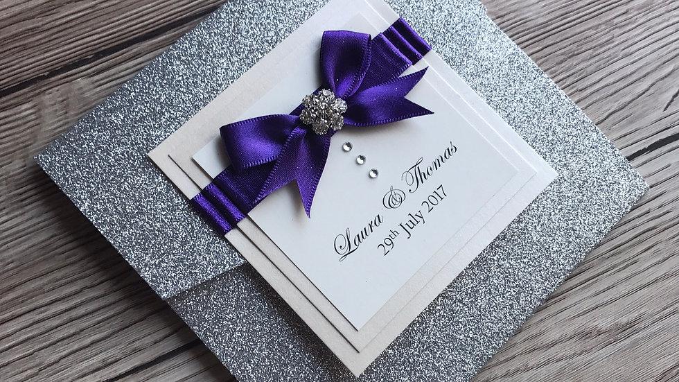 Silver Glitter Holly Pocketfold Wedding invitation