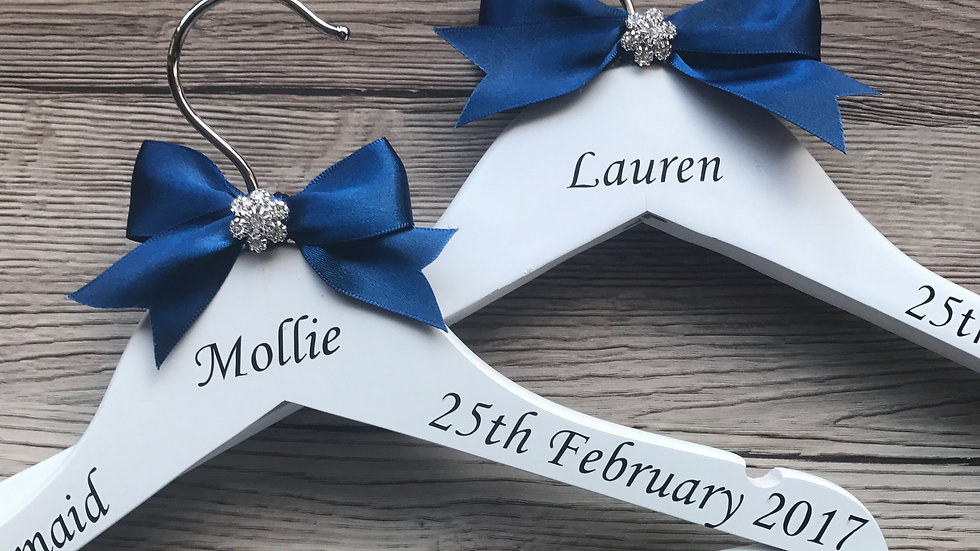 Personalised Wedding Dress Wooden Hangers with Diamante Cluster