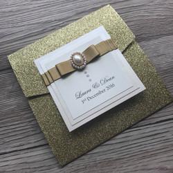 Gold Glitter Pocketfold Invitation