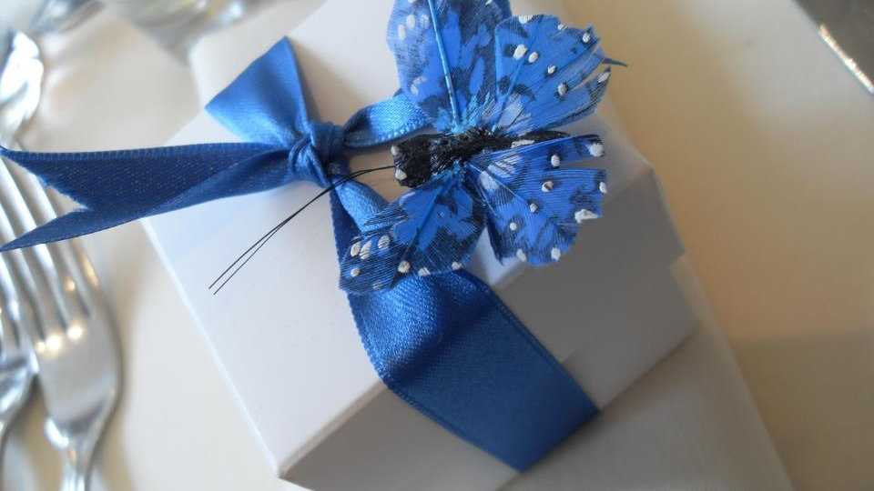Wedding butterfly themed favour boxes
