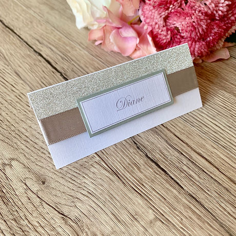 Glitter and ribbon Place card
