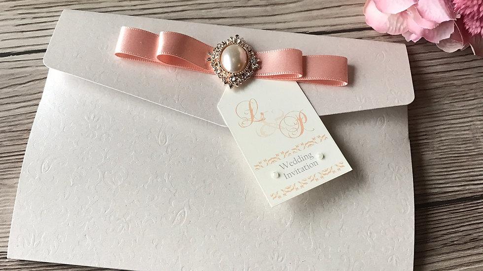 Textured Pocketfold wedding invitation SAMPLE