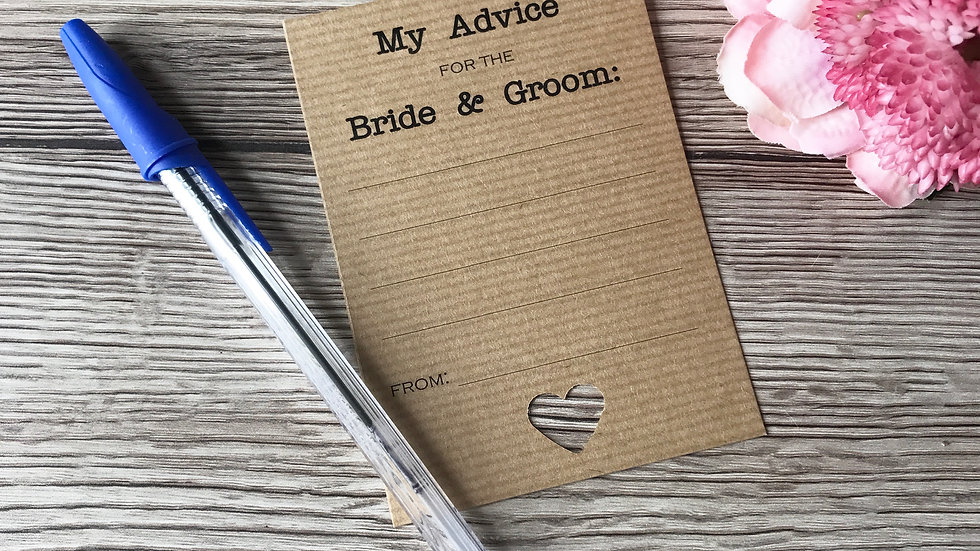 Wedding Advice Card for the Bride and Groom