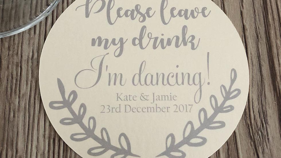Personalised Save my drink card coasters