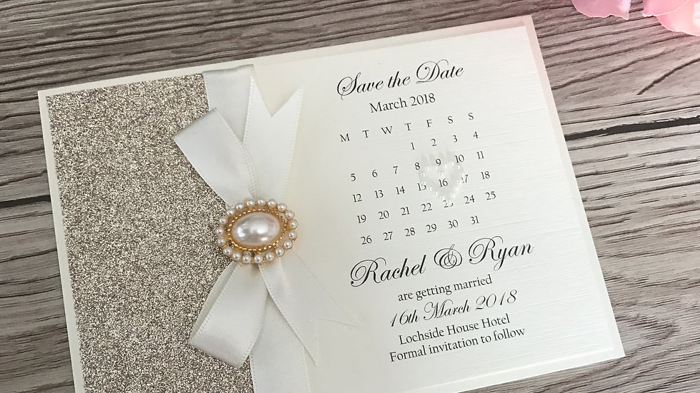Holly Rose Gold Pearl Style Save the Date