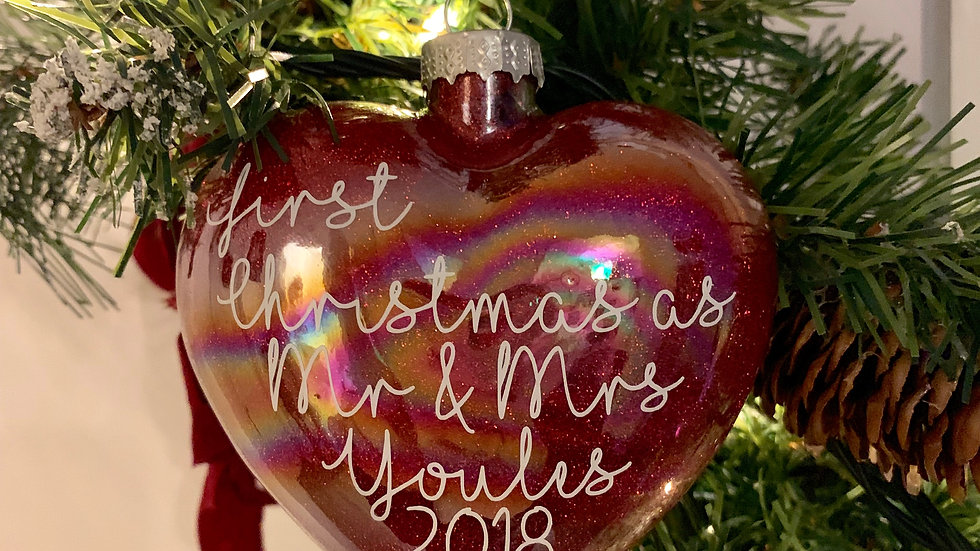 First Christmas as Mr & Mrs Glittered Glass Heart Bauble