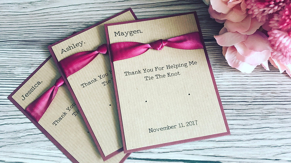 Thank you for helping me tie the knot personalised Earring Thank You Cards