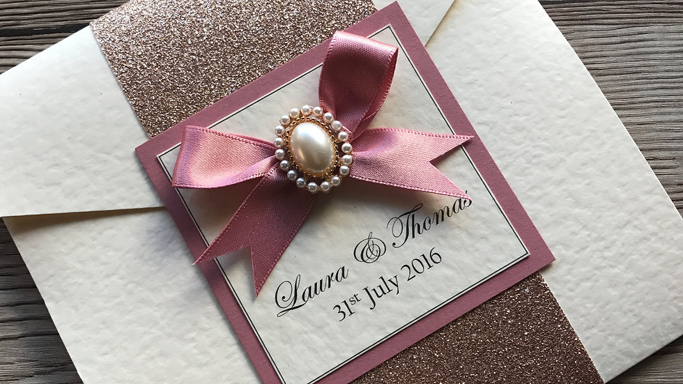 Holly Rose Gold Pearl Invitation