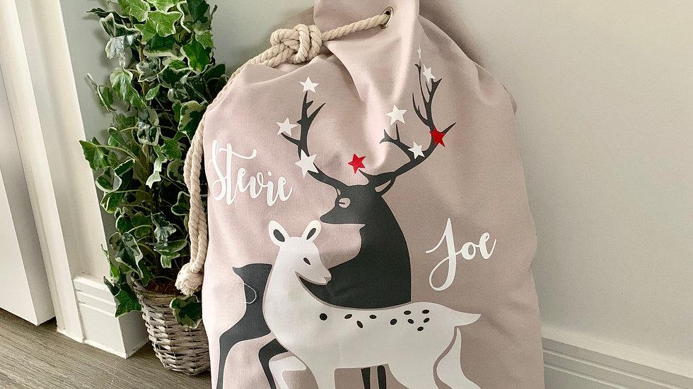 Personalised Grey Reindeer Christmas Present Sack
