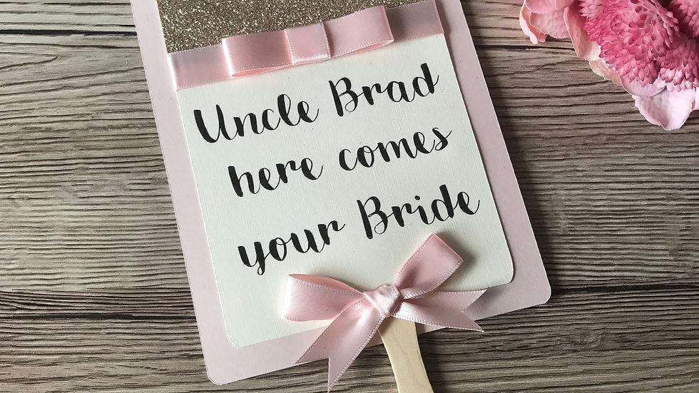 Handheld Wedding Paddle sign