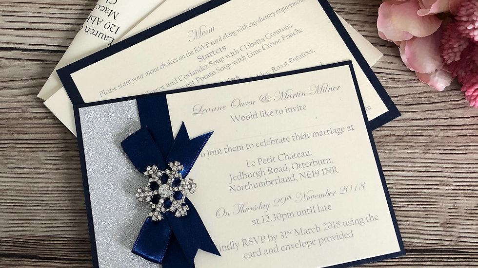 Snowflake Postcard Wedding Invitation postcard SAMPLE