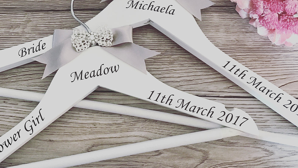Personalised Bridal Party Hangers with Diamante Bow